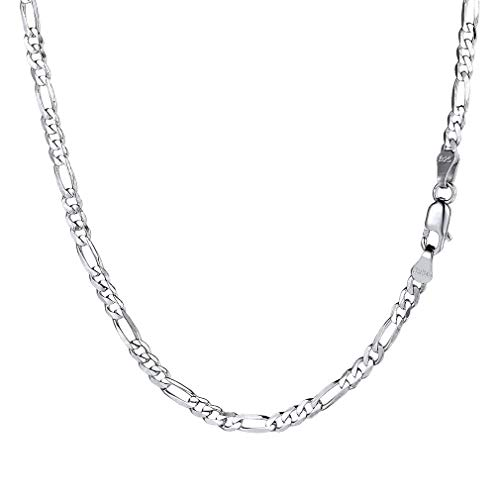PROSILVER Herren Italien Figarokette 925 Silber 2,9mm breit Schlichte 3+1 Gliederkette 66cm/26 Lange Halskette Minimalist Schmuck Accessoire für Männer Jungen