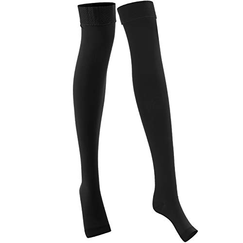 Keenso Compression Stockings, 1 Pair of Class 2 Varicose Vein Thigh Socks Compression Stockings Elastic Anti‑Slip Compression Stockings