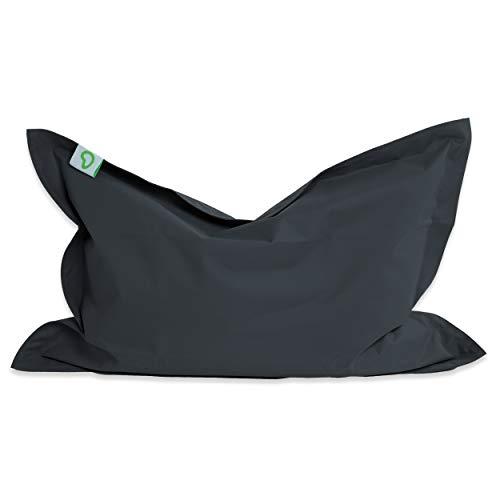 Green Bean © BeBi Mini Sitzsack 100x70 cm - 70 Liter EPS Perlen Füllung - PVC Bezug - Indoor & Outdoor Beanbag für Kinder - Sitzkissen Bean Bag Bodenkissen - Kindersitzsack Stuhl - Dunkelgrau