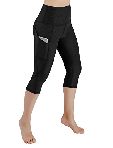 ODODOS High Waist Out Pocket Yoga Capris Pants Tummy Control Workout Running 4 Way Stretch Yoga Capris Leggings,Black,Small