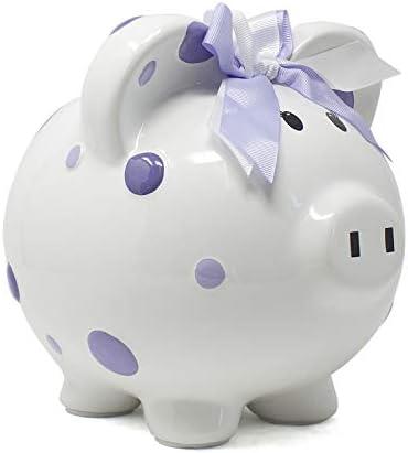 Child to Cherish Ceramic Polka Dot Piggy Bank for Girls Purple product image