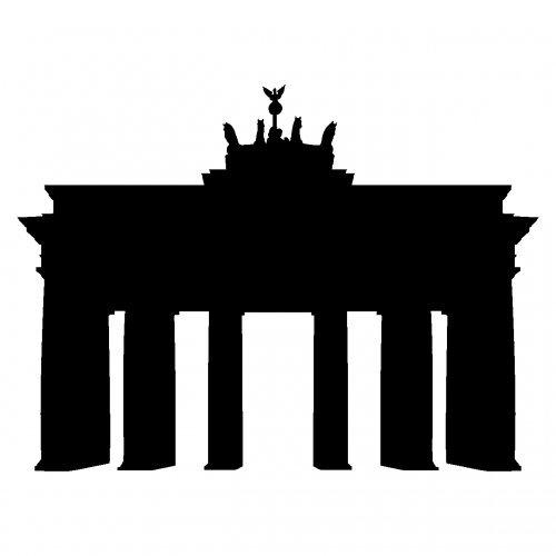 Skyline4u Aufkleber Brandenburger Tor Wahrzeichen Aufkleber Berlin in 8 Größen und 25 Farben (10x7,4cm schwarz)