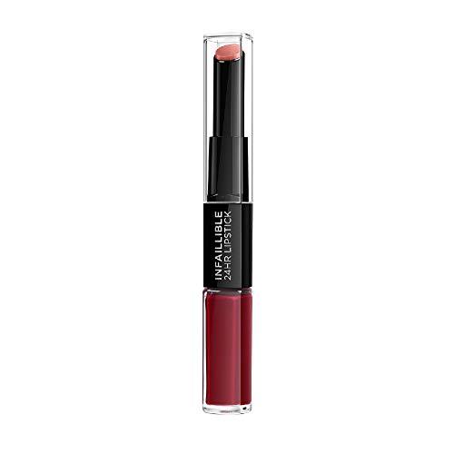 L'Oreal Paris Lippen Make-up Infaillible Lippenstift, 700 Boundles Burgundy /Liquid Lipstick für 24 Stunden volle Lippen mit feuchtigkeitsspendendem Lippenpflege - Balsam, 1er Pack