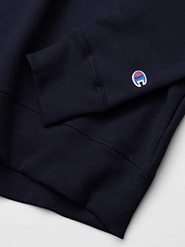 Champion Men's Powerblend Sweatshirt, Navy Script Applique, Medium