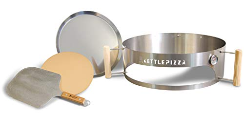 Made in USA KettlePizza Deluxe USA Pizza Oven Kit for Kettle Grills - Includes Stone and Metal Peel,...