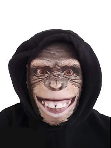 Máscara de cabeza completa de mono, realista con estampado de animales de licra, divertida y escalofriante, para disfraz, despedida de soltera, despedida de soltero