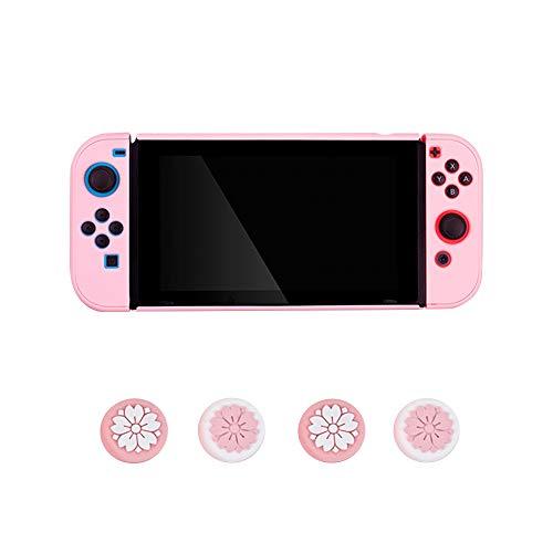 FKYNB Silikon Hülle for Nintendo Switch, Frosted Grip Hülle Anti-Rutsch-Ganzkörper-Shell mit Joystick-Kappen (Color : Pink 2)