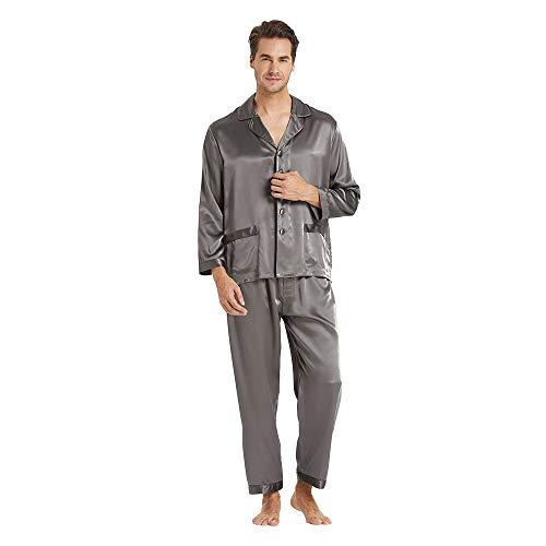 LilySilk Seide Pyjama Herren Nachtwäsche Unifarbe Elegant 22 Momme - XL Dunkel Grau