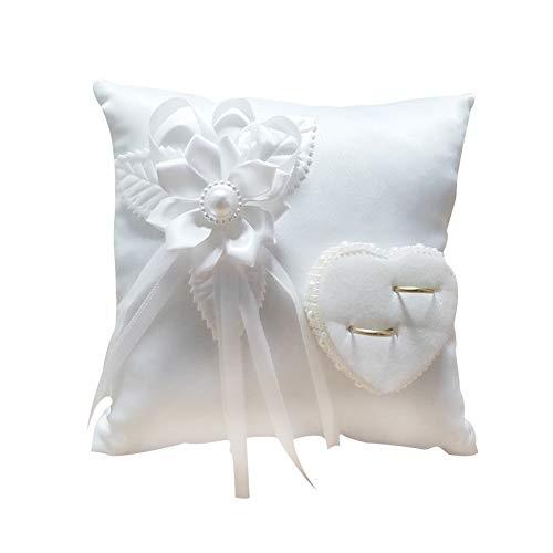 WZ YDTH El Anillo de la Almohada Anillo de Bodas romántica Elegante de la casilla Blanca de la Camelia del corazón en Forma de cojín Suministros Matrimonio de Interior al Aire Libre
