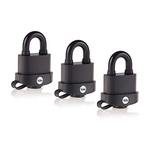 Yale Y220B/51/118/3 - 3 Pack of Black Weatherproof Padlocks with Protective Cover (51 mm) - Outdoor Hardened Steel Shackle Locks for Shed, Gate, Chain - Keyed Alike - High Security - Multipack