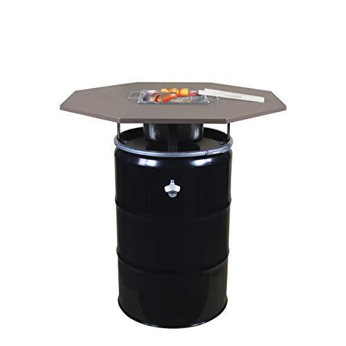 Rogge´s RelaxGrill Grilltisch Okto – Stehtisch mit integriertem Edelstahlgrill – gemeinsam Essen am Holzkohlegrill, wie beim Raclette oder Fondue