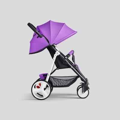 HUKN Cochecito de bebé Plegable Ligero 2 en 1 Puede Sentarse Puede mentir Puede en el Sistema de Viaje de avión Parabebe Children PRAM para recién Nacido (Color : Purple and White)