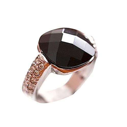 Kaijia Negro Anillo Color Tierra Cristal Diamante Mujer Personalidad Piedra Preciosa Retro Pequeña Joyería Dedo