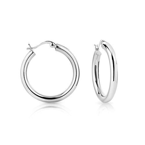DTP Silver -Orecchini da donna a Cerchio/Creoli - Argento 925 - Spessore 4 mm - Diametro 30 mm