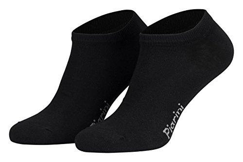 Piarini 43-46/8 Paar Sneaker-Socken Sportsocken Baumwolle ohne Naht kurz Damen Herren Schwarz