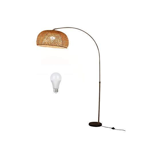 QTWW Lámpara de pie de Mimbre de bambú E27, lámpara de Arco Ajustable en Altura de 90-175 cm, lámpara de pie Regulable con Mando a Distancia, lámpara de pie con Base de mármol, para Sala de Estar