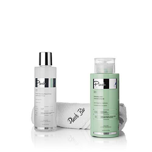 Luxury BIO Cosmetics - 2 productos promocionales con mandarina verde + regalo de toalla de felpa = crema removedora (300 ml) + micelar de agua y tónico (250 ml)