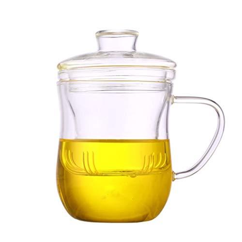 Taza de té de cristal con infusor y tapa, 350 ml, taza de té con filtro de té y tapa, ideal para hacer una buena taza de té en casa, oficina o viajes, juego de 2