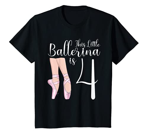 Youth 4 Year Old Ballerina Birthday Party Dance Ballet 4th Gift T-Shirt