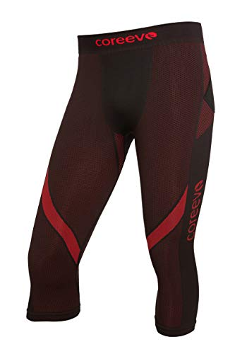 coreevo - Mallas compresivas Compression 3/4 Pirata Running/Trail Running, Talla XL, Color Negro/Rojo