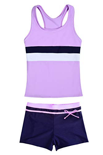 JerrisApparel Little Girls' Summer Two Piece Boyshort Tankini Kids Swimsuit (8-9/Tag Size 2XL, Purple)