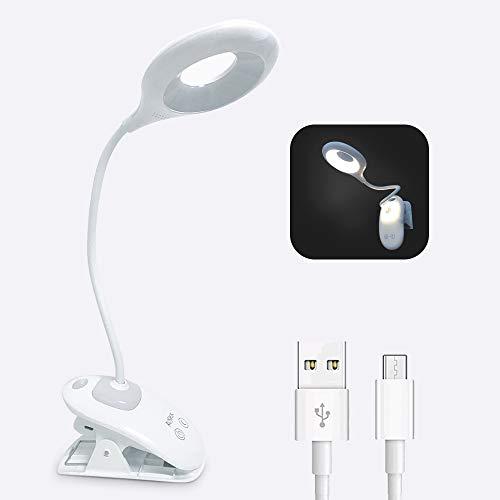 Lámpara LED con Pinza Luz Lectura Recargable de 16 LED con 3 Niveles de Luminosidad/Interruptor Táctil para Escritorio, Mesa, Cama, Cabecera, Piano, Computadora, Lector, Niños y Estudiantes