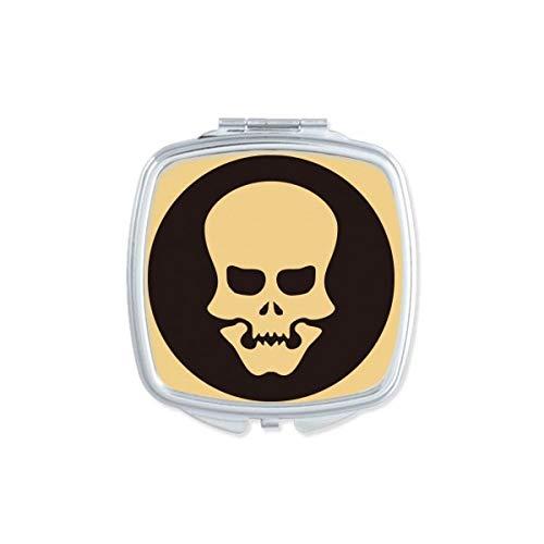 DIYthinker Happy Halloween - Espejo de bolsillo para maquillaje, diseño de calavera hueca, cuadrado, compacto, portátil, bonito espejo de mano pequeño, regalo