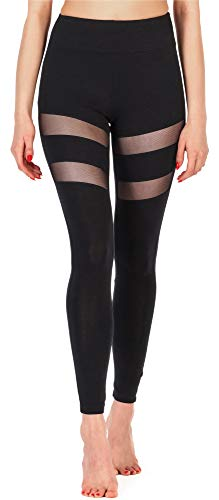 Merry Style Damen Lange Leggings Fitnesshose aus Viskose MS10-232 (Schwarz, M)