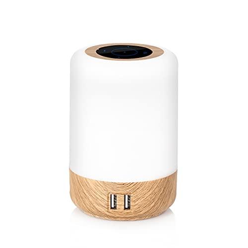 Lampe de chevet LED intelligente, 3 niveaux de luminosité, lampe de chevet multicolore avec fonction de temporisation, contrôle tactile, 4 ports USB intégrés