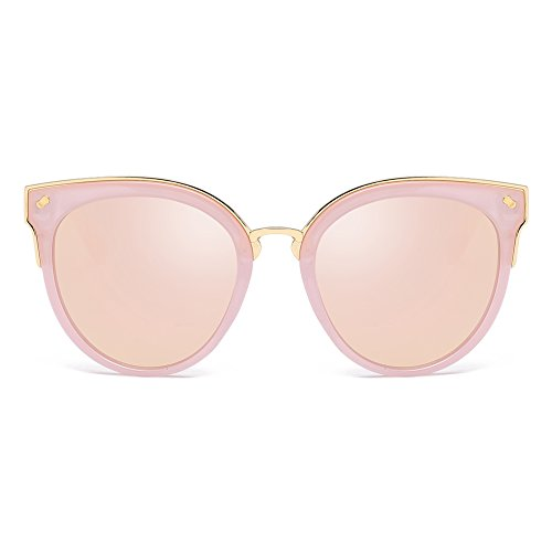 Cyxus Cateye Mujer Gafas de sol Polarizadas Protección UV Conduciendo Gafas de sol para pescar Montar al aire libre (Lente rosa)