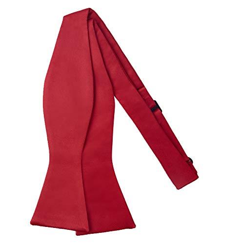 Jacob Alexander Men's Self Tie Freestyle Solid Color Bowtie - Red
