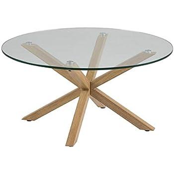 Homestreet Table Basse Moderne Et Elegante Avec Plateau En Verre Et Pieds En Chene Metallise Design Scandinave De Qualite Amazon Fr Cuisine Maison