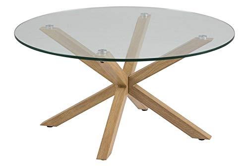 Homestreet Stylish Modern Round Glass Top Coffee Table Metal Oak Foiled Legs Scandinavian Design Quality Furniture