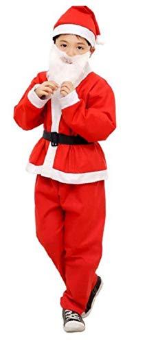 Disfraz de Papá Noel para niño - duende - carnaval - halloween - rojo y blanco - gorro de pantalón de punto - cinturón de barba - talla 3/6 años