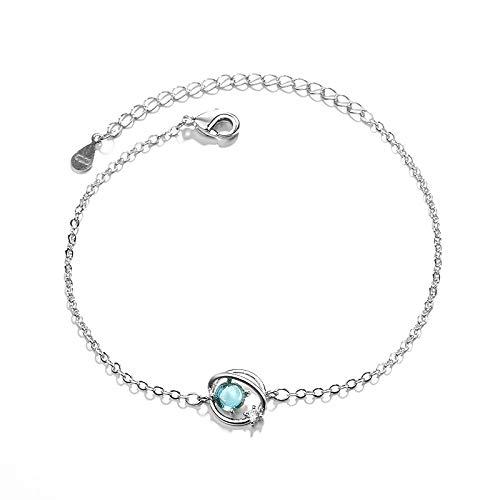 Blaues Glas Fantasy Universe Planet S925 Sterling Silber Armband, Kleine Frische Freundinnen Aurora Sternenhimmel Net Red Handschmuck