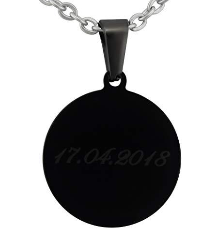 Hanessa Gravierte Kreis cadena y deseo Gravur en negro. Collar negro de acero inoxidable Circular colgante joyas regalo para mujer y hombre para el día del padre para el padre