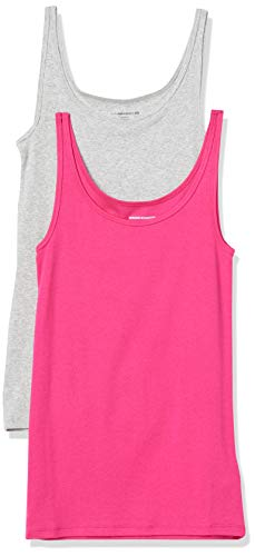 Amazon Essentials Women's 2-Pack Slim-fit Thin Strap Tank, Bright Pink/Light Grey Heather, Small
