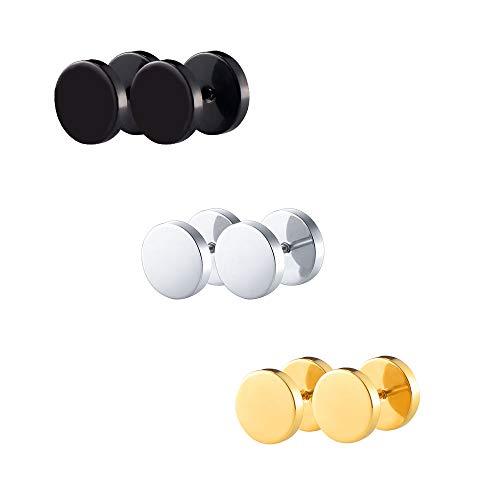 VU100 3 Pares 10mm Pendientes de botón de acero inoxidable para hombre Oro Plata Negro