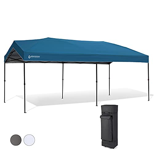 Arrowhead Outdoor 10'x20' Pop-Up Canopy & Instant Shelter, Easy One Person Setup, Water & UV Resistant 300D Fabric, Push Button Legs, Wheeled Carry Bag, Guide Ropes & Stakes Included, USA-Based