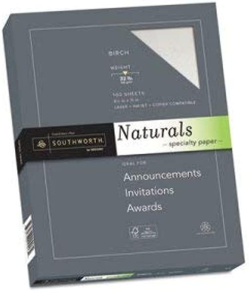 Southworth Co Naturals Paper Birch 8 1 2 X 11 32 Lb 100 Ream 16 Pack