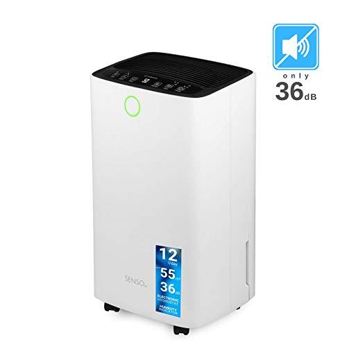 Turbionaire Senso 12 Silent tragbarer Luftentfeuchter nur 36 dB smart max.  185 W 12L / 24h für Umgebungen bis 55 mc Staubfilter Eingebauter Hygrostat, LED-Feuchtigkeitsanzeige