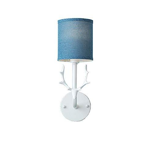 DERFCSEfds herten hoofd wandlamp muur schansen verlichting armaturen voor woonkamer slaapkamer badkamer keuken eetkamer kinderkamer Aisle gang balkon bar decoratieve, white, Blauw