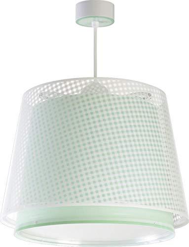 Dalber Lámpara Infantil de techo Vichy Verde, 60 W