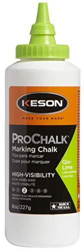 Keson 8GL ProChalk High Visibility Marking Chalk - Level 2, Glo-Lime, 8-Ounce