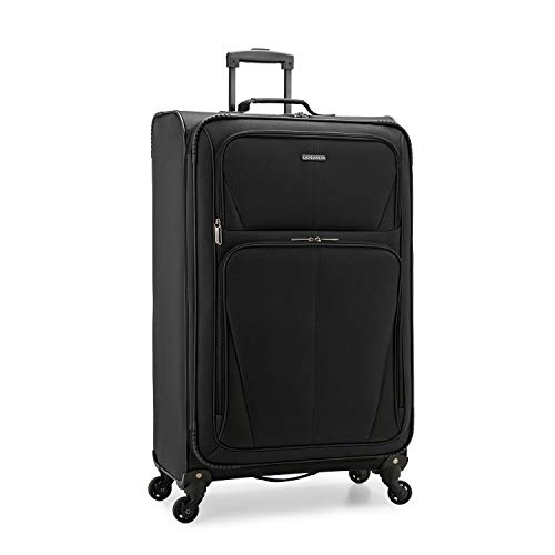 U.S. Traveler Aviron Bay Expandable Softside Luggage with Spinner Wheels, Black, Checked-Large 31-Inch