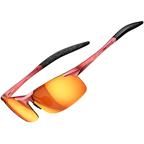 ATTCL Herren Polarisierte Treiber Glasses Sport Sonnenbrille Al-Mg Metallrahme Ultra leicht 8177 Orange-red