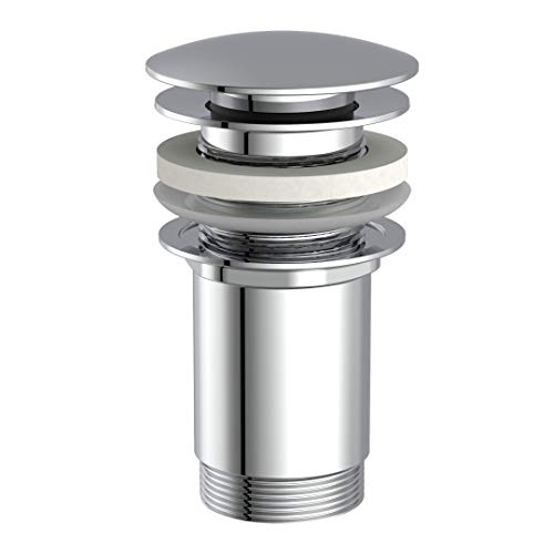 instmaier E3 // Ablaufgarnitur // Chrom // Universal Pop-Up Ventil // ohne Überlauf // für Badezimmer Waschbecken & Waschtisch // Waschbeckenstöpsel aus Messing mit Quick Start Anleitung