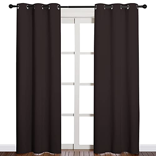 NICETOWN Energy Smart Thermal Insulated Solid Grommet Blackout Curtains/Drapes for Living Room (2 Panels, 42 inches x 84 inches, Toffee Brown)