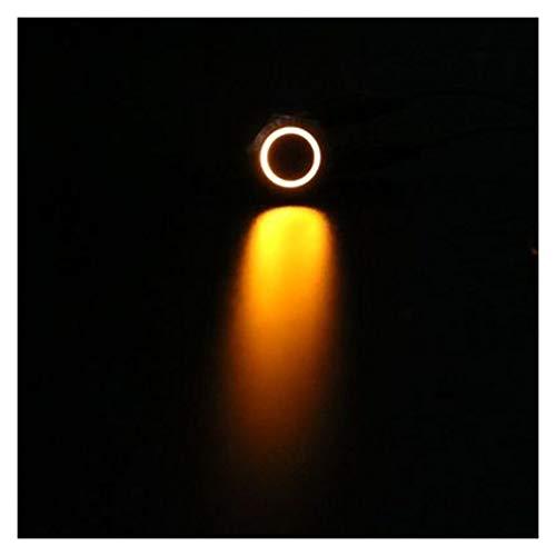 Botón 1 unid 12 mm Metal Bloqueo de metal Interruptores de pulsador Anillo Illuminación Interruptor de alta redondo Forma plana Momento 1No terminal ( Color : Yellow , Voltage : 220V )
