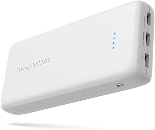 RAVPower Portable Charger 32000mAh Battery Pack 6A Output, USB Power Banks Compatible with iPhone 11/Pro/Max/ 8/ X/XS, Samsung Galaxy and More (3-Port, 2.4A Input, Triple iSmart 2.0 USB) (White)
